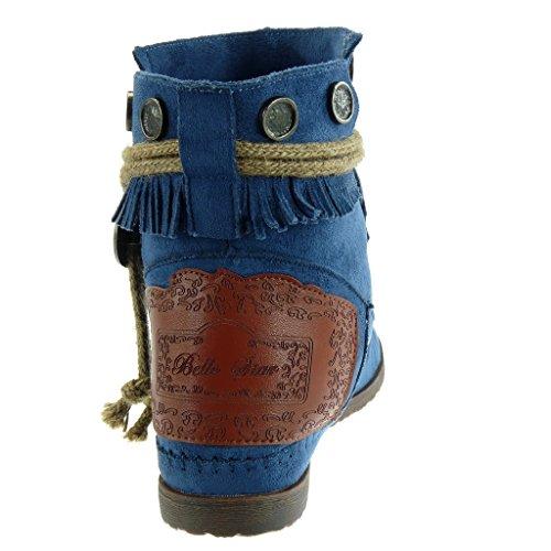 Chaussure lani mode indiennes Femme Bottine frange bottes Angkorly RPg8q
