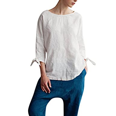 ac0cf57cdab76 Amazon.com  Womens T-Shirt Boat Neck Linen 3 4 Sleeve Bow Tops Loose Simple  Casual Blouse  Clothing