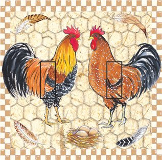 SwitchStix Pretty Boy Roosters Double Toggle Peel and Stick Switch Plate Cover Décor (Rooster Switchplate)