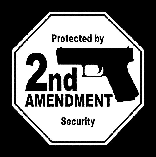 CCI Protected by 2nd Amendment Security Decal Vinyl Sticker|Cars Trucks Vans Walls Laptop| White |5.5 x 5.5 in|CCI1634 (Decal Support 2nd The Amendment)