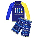 Happy Cherry Boys Two Piece Rachguard Swimsuit Cartoon UPF 50 Quick Dry Sunsuit