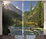 Ambesonne Lake House Decor Collection, Mountain Lake, West Siberia, Altai mountains, Katun Ridge Alpine Forest Morning View, Living Room Bedroom Curtain 2 Panels Set, 108 X 90 Inches, Green Blue