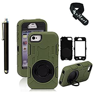 vMart Camera Appearance Design Hybrid Hard Case With Stand Case Cover For Apple iPhone 4/4s - vMart-Army green