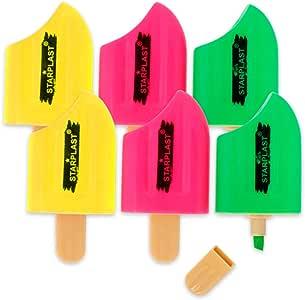 Starplast Pack 2 Estuches x 3 Marcadores, Subrayadores con Forma de helado, 6.2cm, para Uso escolar, Oficina, etc. Colores Flúor.: Amazon.es: Oficina y papelería