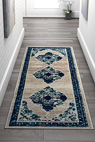 """Inkberry Vintage Distressed Area Rug [2'3"""" x 7'3"""" Runner] Bohemian Transitional Eclectic Rug Soft Living Dining Room Multi Color Carpet"""