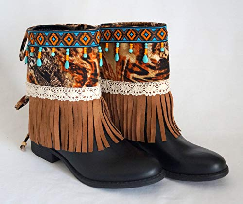 Native American fringe boot covers-Boho boot covers -Gypsy