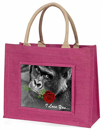 Advanta I Love You Gorilla mit eine rote Rose Große Einkaufstasche/Weihnachtsgeschenk, Jute, pink, 42x 34,5x 2cm