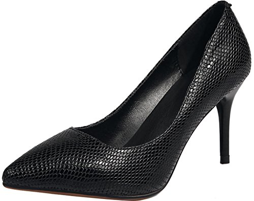 Stiletto Calaier 8CM Toe Court Jtaak Women Pointed Shoes Slip on Black InXr7XSqw