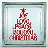 glass block decals - Joy, Love, Peace, Believe, Christmas Decal. Choose the size. Perfect for car windows, crafting, glass block, etc. (Glass Block Not Included).