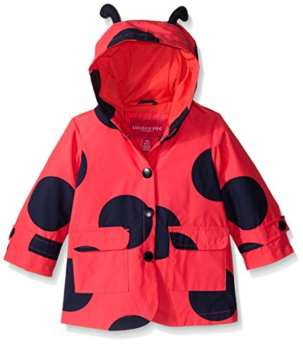 London Fog Baby Girls' Enhanced Radiance Ladybug Rain Slicker, Red, 12 Months by London Fog
