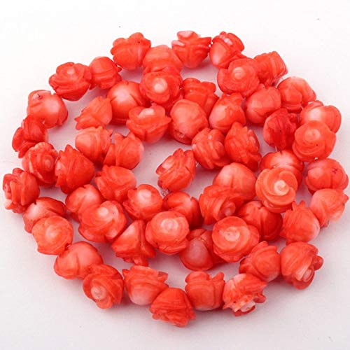 Calvas 4-6x5-7mm Pink Carved Flower Coral Beads Natural Stone Beads for DIY Necklace Bracelet Earring Jewelry Making 15