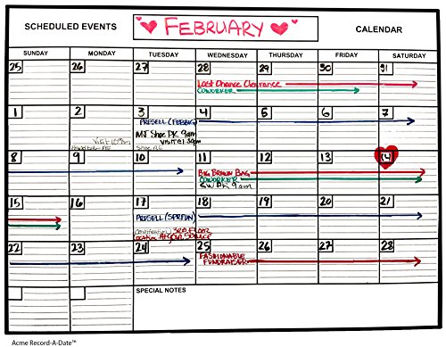 Whiteboard Dry Erase Monthly Calendar 1' x 2' Flexible Durable Sheet Material - Best for Goals Current Events By Acme Record A Date Offer Easy to Install Stick or Tack (A-glance Personalized Wall Calendar)