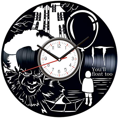 Stephen King It Black Vinyl Clock - Vintage Room Kitchen Bedroom Decor - Vinyl Record Gift Idea for Birthday Christmas Hanukkah - Unique Vintage Wall Art - Personalized Home Decoration - 12 Inch -