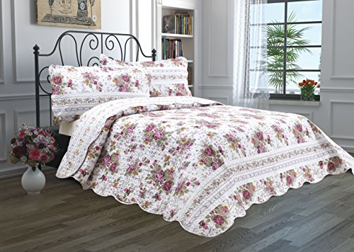 Floral Velvet Quilt (2 Piece Quilt Set with Sham Reversible Bedspread Matelasse Bedcover Double-Sided Bedding Coverlet Lightweight Comforter Linen Looking Luxurious Bed Cover (Twin, Festival))