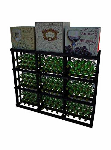 Vintner Series Wine Rack - 3 Column Rectangular Bin - 3 Ft - Allheart Redwood with Midnight Black Stain