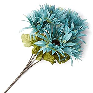Factory Direct Craft Poly Silk Teal Artificial Gerbera Daisy Sprays for Indoor Decor - 4 Sprays 5