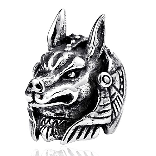 Titanium Carved Rings (LILILEO Jewelry Retro Titanium Steel Domineering Carved wolf God Ring For Men's Rings)
