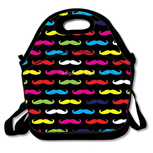 Insulated Neoprene Lunch Bag Reusable Thermal Thick Lunch Tote Bags For Women,Teens,Girls,Kids,Adults-Lunch Boxes For Outdoors,Work,Office,School - Colourful Moustache Pattern