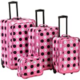 Fox Luggage F106-PINK DOT 4Pc Pinkdot Luggage Set Rockland, Bags Central