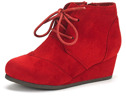 DREAM PAIRS Little Kid Tomson-K Red Girl's Low Wedge Heel Booties Shoes - 12 M US Little Kid