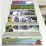 FLFK 3D Waterfall Flowers Landscape Stair Stickers PVC Removable Peel and Stick Stair Riser Decals 39.3' w x 7' h x 6pieces