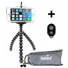 Flexible Tripod - Cell Phone Tripod Adapter - Bluetooth Remote Control - Travel Bag - iPhone 7 6 6S SE 5 5s 5c 4s 4, Samsung Galaxy S7 S6 S5 S4 S3 S2 - DaVoice (Black/Gray)