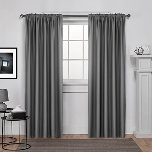 Dreaming Casa Solid Room Darkening Blackout Curtain For Bedroom 84 Inches Long Draperies Window Treatment 2 Panels Grey Rod Pocket 2(52
