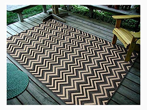 4''5X7' Geometric Zigzag Charcoal, Indoor & Outdoor Area Rug, Easy to Clean, UV protected & Fade Resistant Furnishmyplace - Area 1112 Rug