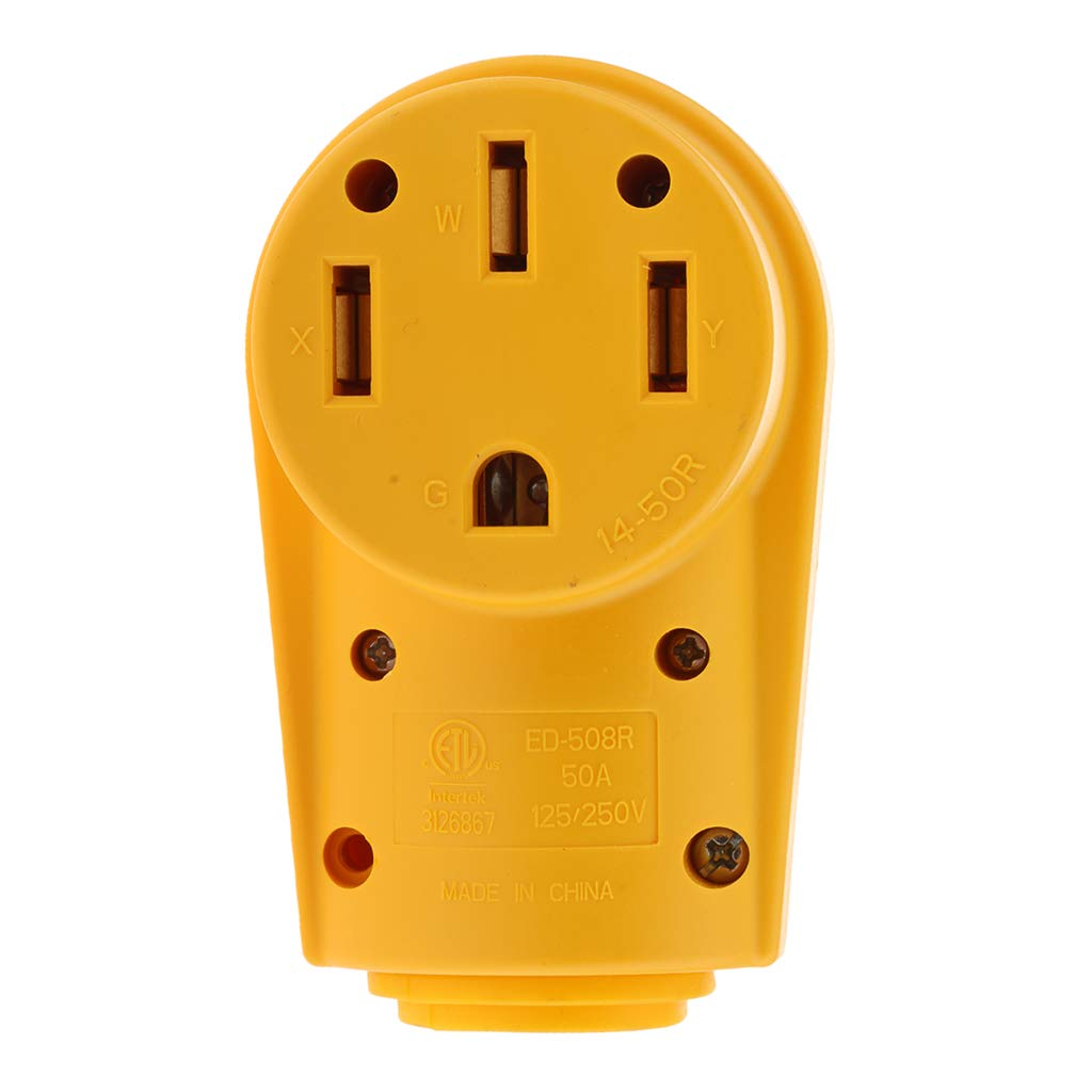 B Blesiya 125V 50 AMP Famale Plug RV Replacement 10AWG//3C Connector Heavy Duty Handle