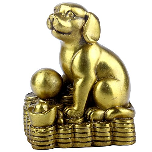 Dog Brass - Brass Statu Chinese Handicraft Chinese Zodiac YuanBao Dog - Handmade Home Decor Collectibles Statue