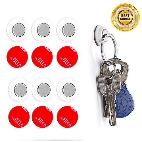 H&HODOR Magnetic Key Holder Racks Wall Mounted Strong Multi-Use Magnets For Home Kitchen Office 3M Adhesive With 4 Replacement Stickers Set 6 Piece