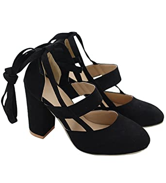 bf85933f6435ec Doubleal Women Sexy High Heel Pumps Cusp Toe Suede Straps Thick High Heeled  Sandals
