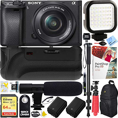 Sony a6500 4K Mirrorless Camera Body w/APS-C Sensor Black (ILCE-6500/B) + 16-50mm Power Zoom E-Mount Lens & 64GB Battery Grip & Shotgun Mic Pro Video Bundle