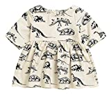 Mini honey Infant Baby Girls Summer Playwear Sun Dresses One-Piece Dress With Dinosaurs Print (6-12 Months, Beige)