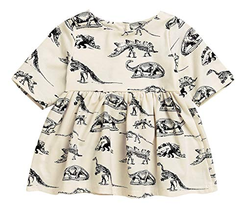 Mini honey Infant Baby Girls Summer Playwear Sun Dresses One-Piece Dress With Dinosaurs Print (12-18 Months, Beige)