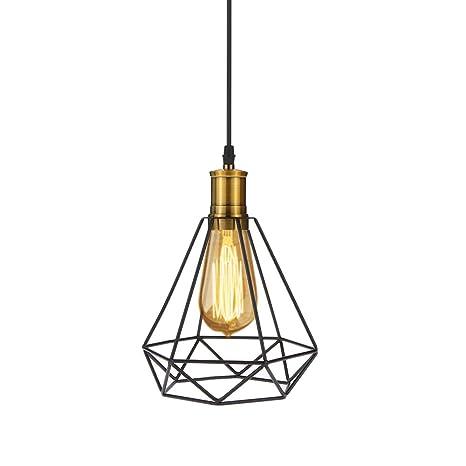 Tomshine Lámpara de Techo Vintage, Industrial Vintage Colgante de Hierro de Luz de Diamante de Arte de la Pirámide de la Lámpara de Techo para el ...