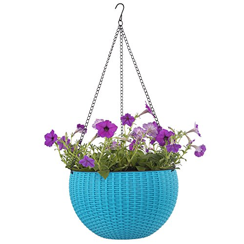 Plant Hanger Growers Hanging Basket Indoor Outdoor Hanging Planter Basket , 10.4 in.Round Resin Garden Plant Hanging Planters Decor Pot (Blue)