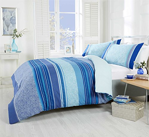 Havana Teal Single Duvet Cover, Navy Single Fitted Sheet & Navy Housewife Pillowcases Pair - Rapport & Atlantis
