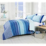 PAISLEY GEOMETRIC STRIPED TEAL BLUE COTTON BLEND CANADIAN QUEEN SIZE (COMFORTER COVER 230 X 220 - UK KING SIZE) (PLAIN WHITE FITTED SHEET - 152 X 200CM + 25 - UK KING SIZE) 4 PIECE BEDDING SET