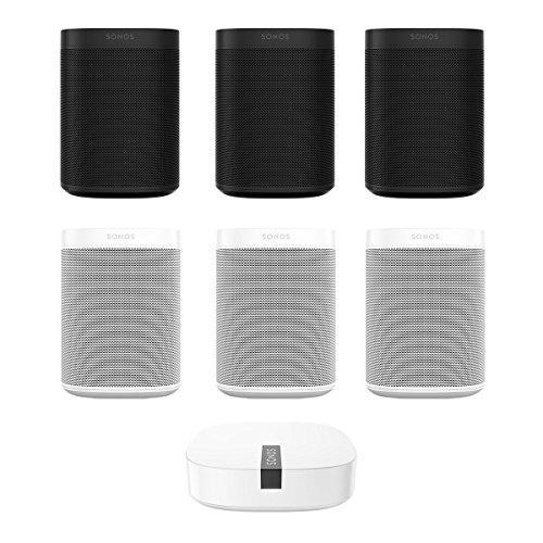 Six Room Set with all-new Sonos One – Smart Speaker with Alexa Voice Control Built In (Black/White) and BOOST Enterprise Grade Wireless Adapter
