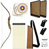 Knidose Beginners Bow and Arrows Set For Kids   36 Pieces Safe Archery Play Set Outdoor and Indoor Fun, Handcrafted Wooden Bow, 15 Arrows and Target Sheets, Quiver, 2 Arm and Finger Guards for Costume