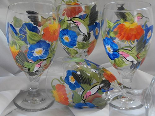 Hand painted hummingbirds, morning glories and fuchsia's. So pretty. Set of 4. 16 ounce short stemmed ice tea/water glasses. . Oranges, blues and greens (Hand Ice Painted)