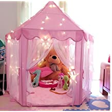 Pink Princess Castle Kids Play Tent Children Playhouse, Great Birthday Gifts for 1-10 Years old Kids Toys, Indoor and Outdoor Use ,55-Inch Diameter x 53-Inch Height (LED Light Not Include)