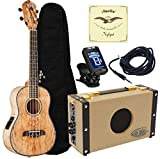 Oscar Schmidt OU7TE Spalted Mango Tenor Acoustic/Electric Ukulele Luna SA5 Amp Package