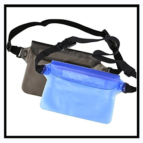 Dsoso Waterproof Pouch dry bag Perfect Protection for Phone, Camera, Cash, Documents From Water, Sand, Dust and Dirt pack of 2 (Black Blue)