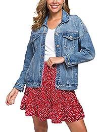 Women's Oversize Vintage Washed Denim Jacket Long Sleeve Classic Loose Jean Trucker Jacket D003