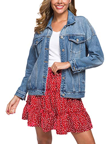 Cantonwalker Loose Women's Denim Jackets,Oversize Vintage Washed Denim Jacket,Long Sleeve Distressed Boyfriend Denim Jacket