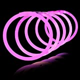 Lumistick 100 Count PINK 8'' Light-Up Premium GlowSticks/Bracelets in Glowsticks - Comes With Bracelet Connectors - Perfect for Birthdays, Parties, Performances, Halloween & More!