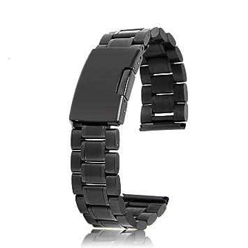 20 mm Venda De Reloj De La Correa De Acero Inoxidable Sólido Con Hebilla Del Despliegue - Negro