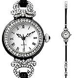 Womens Bracelet Faux Diamond Watch with Rhinestone Look Crystals Repro Antique Vintage Look Quartz